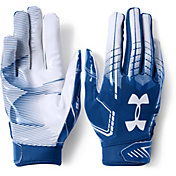 Under Armour Youth F6 Receiver Gloves in Royal/White