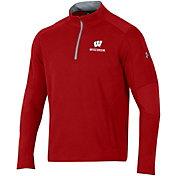 Under Armour Men's Wisconsin Badgers Red Threadborne Ridge Quarter-Zip Shirt