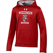 Under Armour Youth Wisconsin Badgers Red Armourfleece Pullover Performance Hoodie
