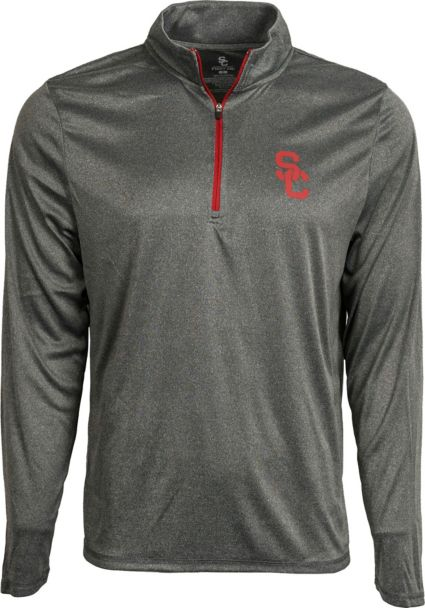 84025220d USC Authentic Apparel Men's USC Trojans Grey Arnie Quarter-Zip Top.  noImageFound