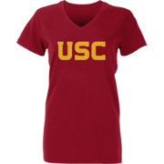 USC Authentic Apparel Women's USC Trojans Cardinal Wordmark V-Neck T-Shirt