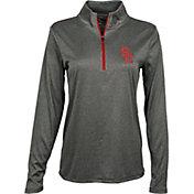 USC Authentic Apparel Women's USC Trojans Grey Darcy Quarter-Zip Top