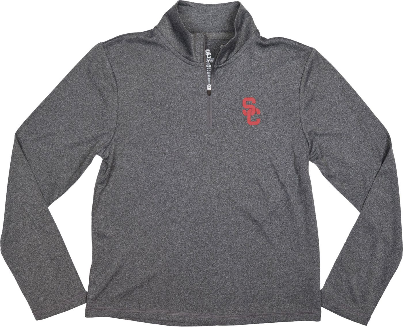 USC Authentic Apparel Youth USC Trojans Grey Aries Quarter-Zip Top