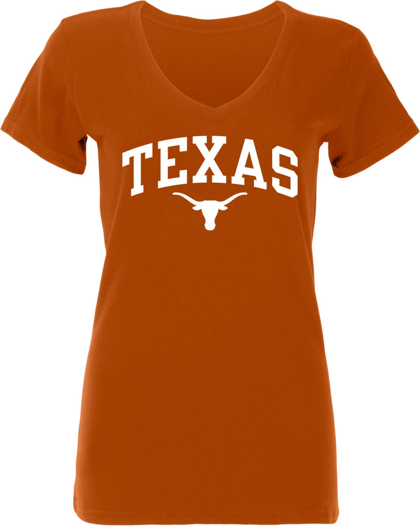 University of Texas Authentic Apparel Women's Texas Longhorns Burnt Orange Arch V-Neck T-Shirt