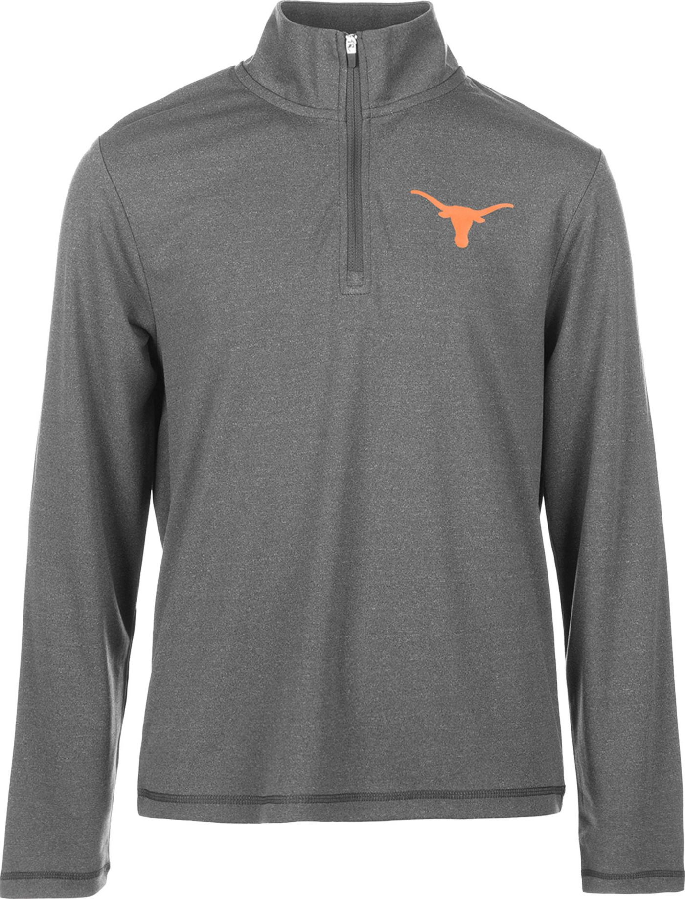 University of Texas Authentic Apparel Youth Texas Longhorns Grey Aries Quarter-Zip Top