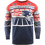 FOCO Men's New England Patriots Bluetooth Navy Ugly Sweater