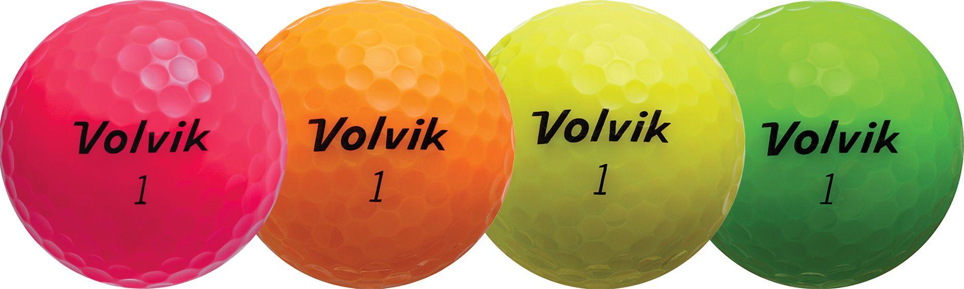 Volvik 2018 Crystal Personalized Golf Balls – Pink/Orange/Yellow/Green, Black