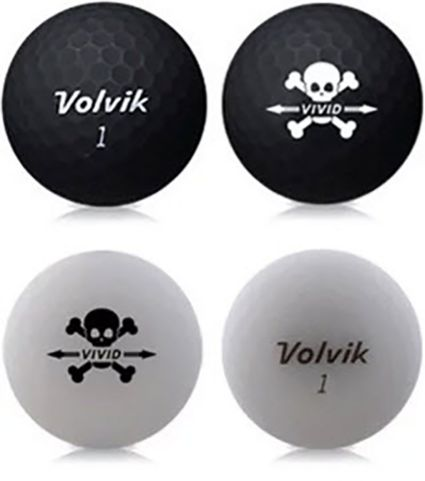 Volvik VIVID Matte Skull Edition Golf Balls + Hat Clip Set – 4 Pack
