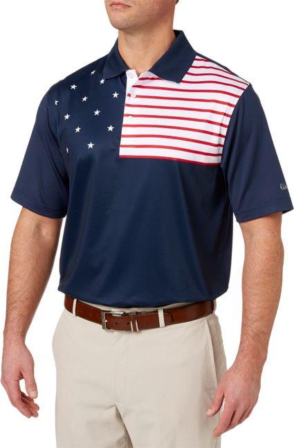 Walter Hagen Men's USA Flag Golf Polo