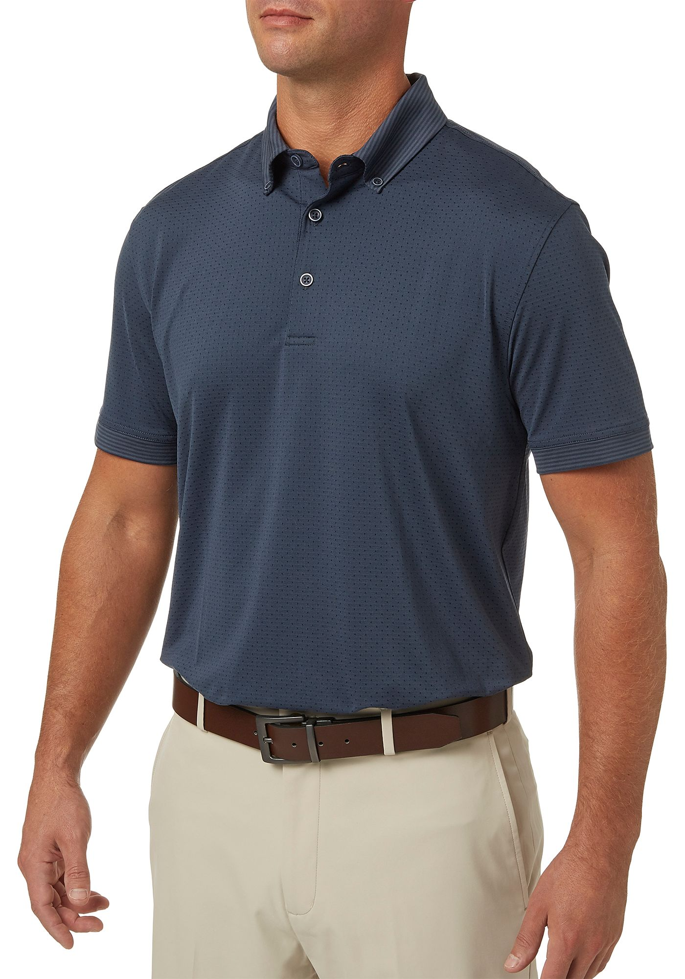 Walter Hagen Men's Polka Dot Stripe Lifestyle Golf Polo