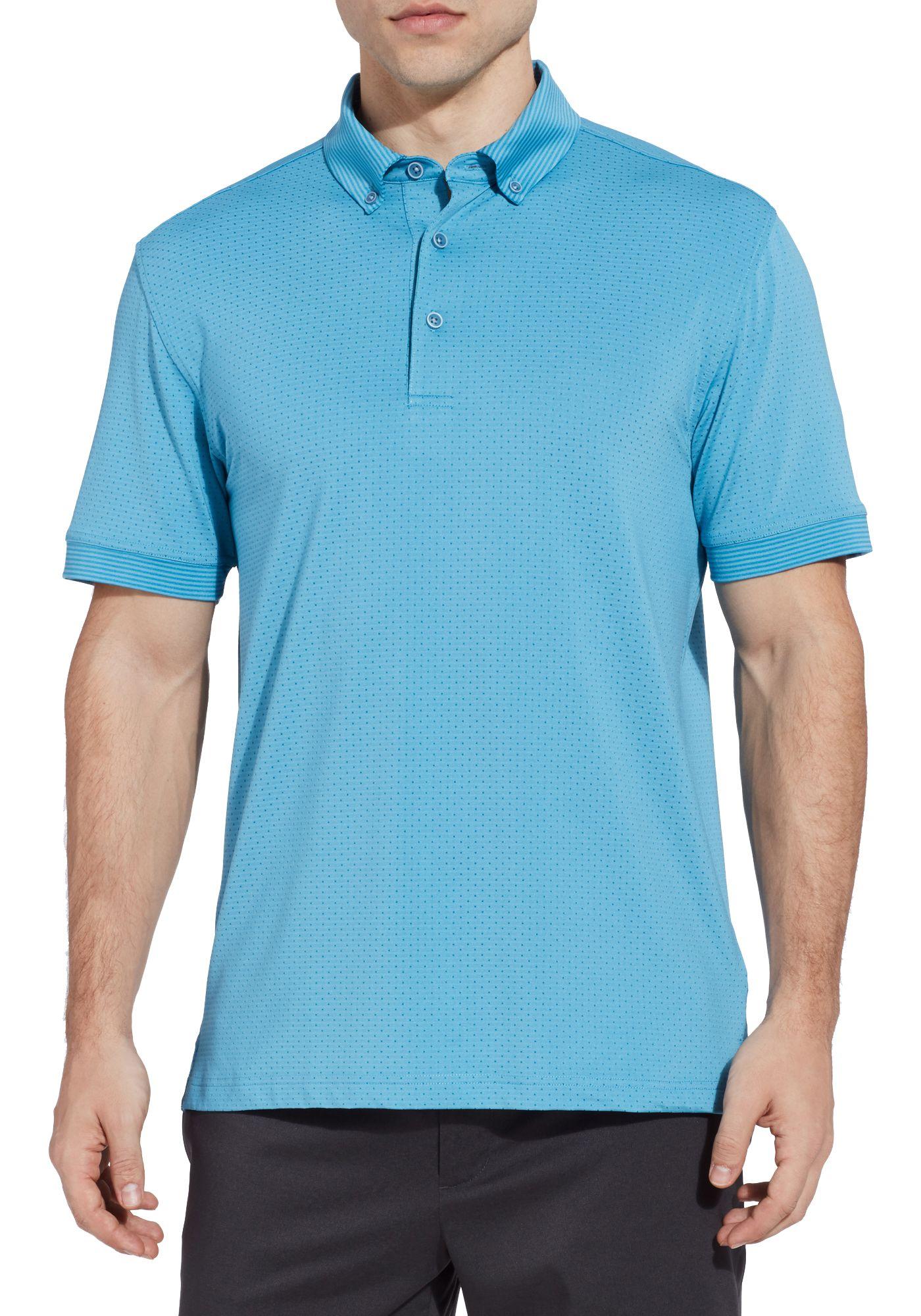 Walter Hagen Men's Polka Dot Stripe Lifestyle Golf Polo