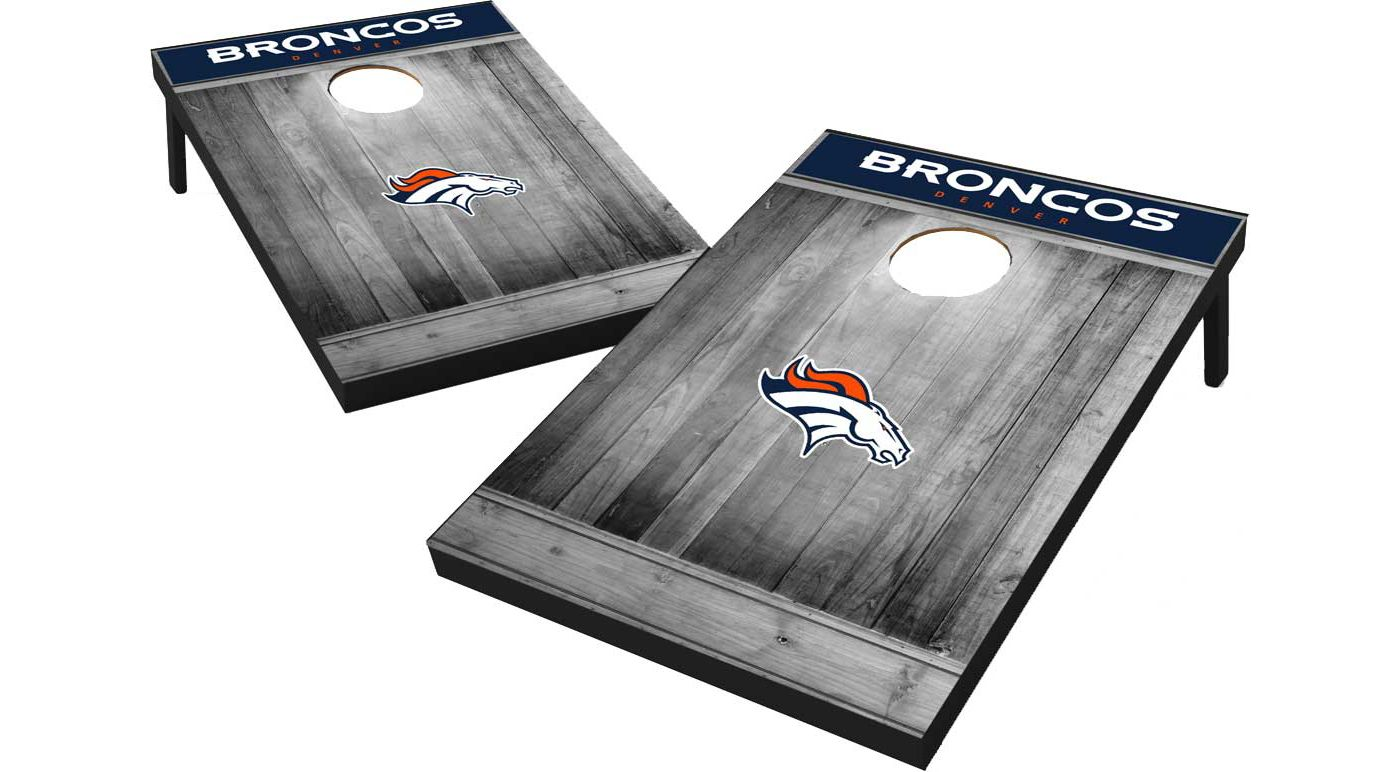 Wild Sports Denver Broncos Grey Wood Tailgate Toss