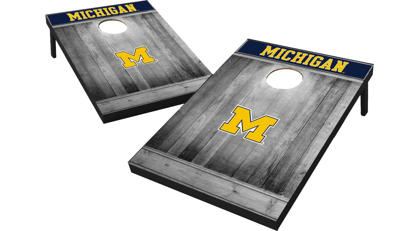 Wild Sports Michigan Wolverines NCAA Grey Wood Tailgate Toss