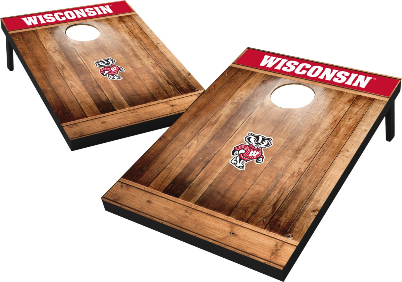 Wild Sports Wisconsin Badgers NCAA Brown Wood Tailgate Toss