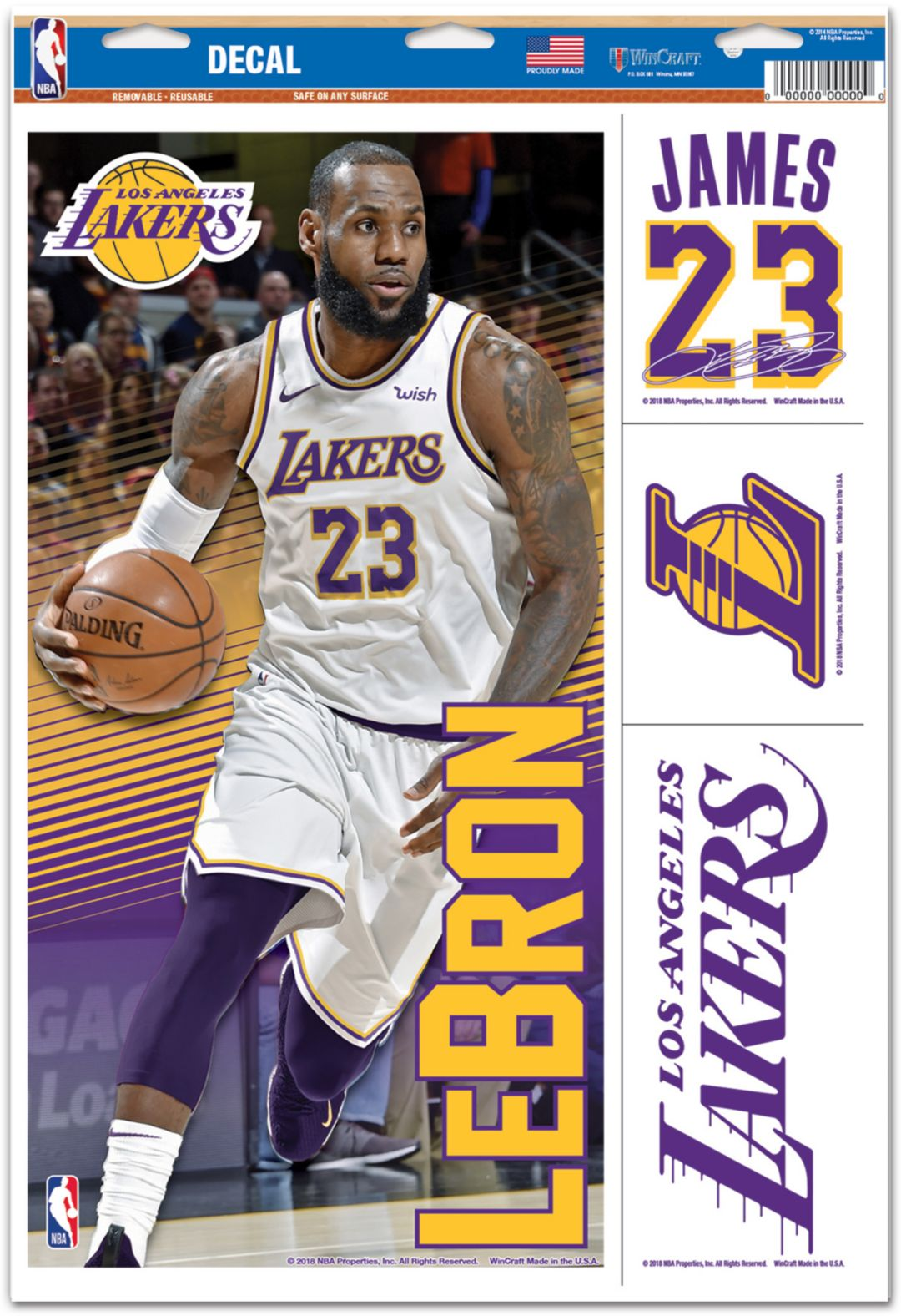 edbd4400a WinCraft Los Angeles Lakers LeBron James Multi-Use Decal 1