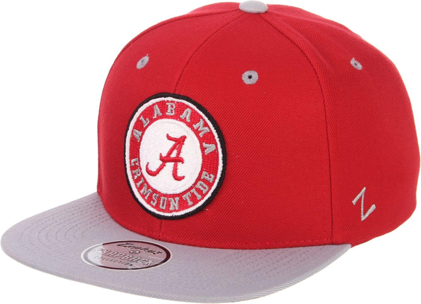 Zephyr Men's Alabama Crimson Tide Crimson/Grey Script Adjustable Snapback Hat