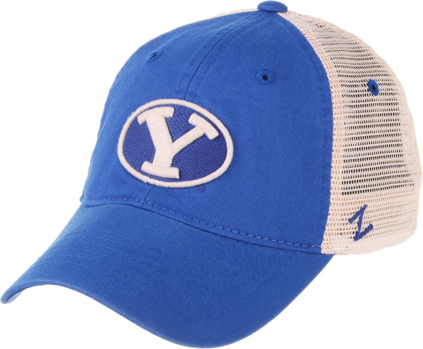 Zephyr Men's BYU Cougars Blue/Cream Trucker Logo Snapback Hat