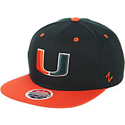 Zephyr Men's Miami Hurricanes Green/Orange Script Adjustable Snapback Hat