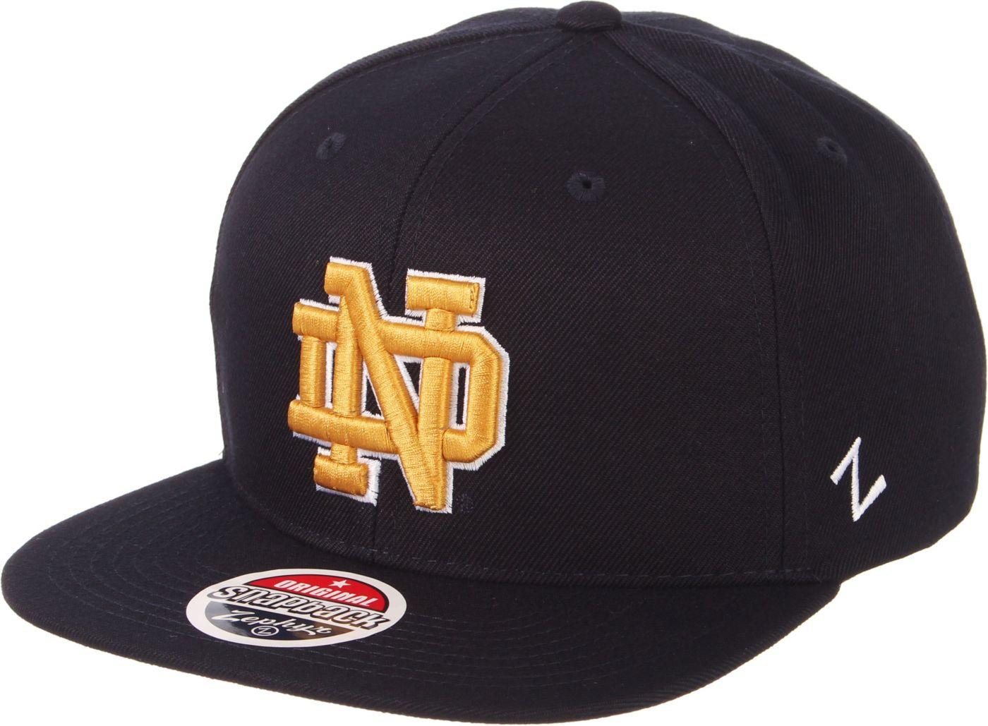 Zephyr Men's Notre Dame Fighting Irish Navy Script Adjustable Snapback Hat