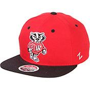 Zephyr Men's Wisconsin Badgers Red/Black Script Adjustable Snapback Hat