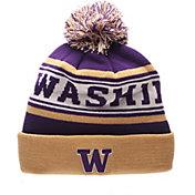Zephyr Men's Washington Huskies Purple Finish Line Pom Knit Beanie