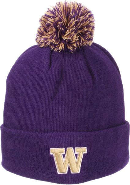 ebf24a094c9 Zephyr Men s Washington Huskies Purple Pom Knit Beanie