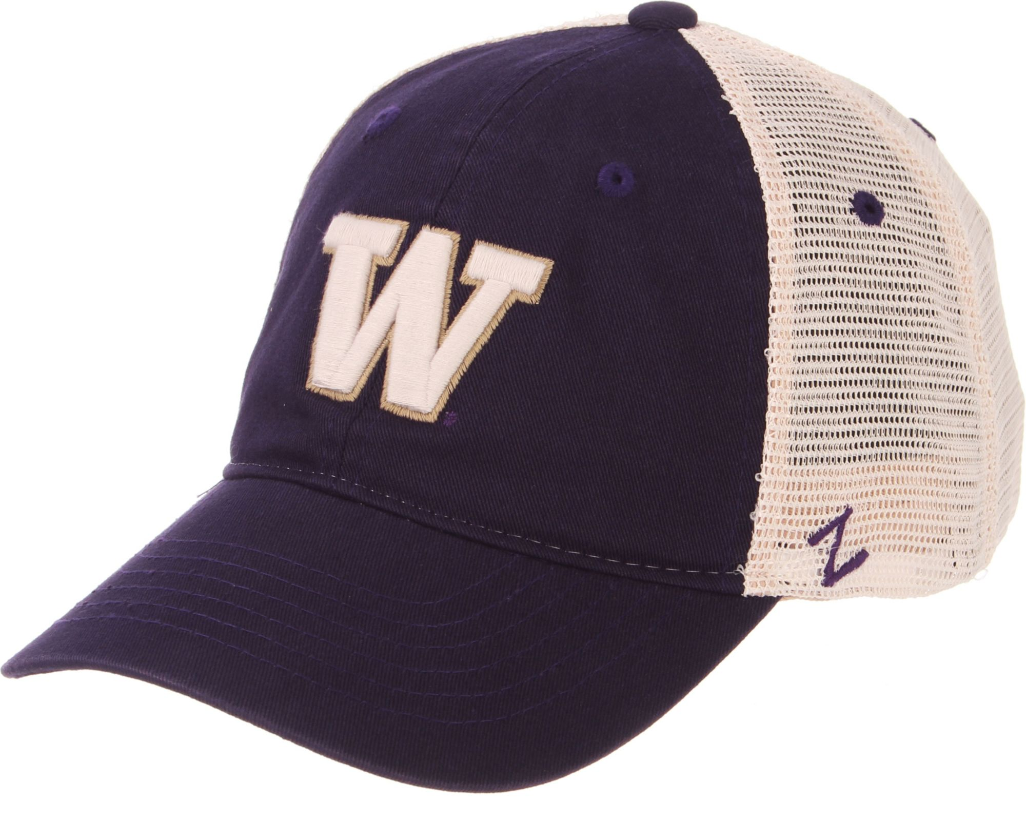 low priced 5bc48 dc99d 4a1aa dd219  germany zephyr mens washington huskies purple cream trucker  logo snapback f8c2f 1d547