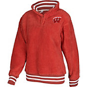 ZooZatz Women's Wisconsin Badgers Red Sherpa Quarter-Zip Fleece Jacket