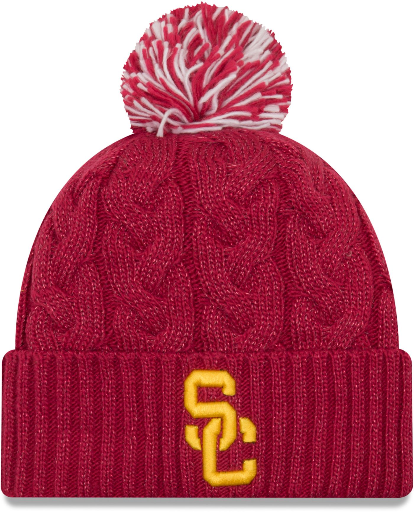 New Era Women's USC Trojans Cardinal Cozy Cable Pom Knit