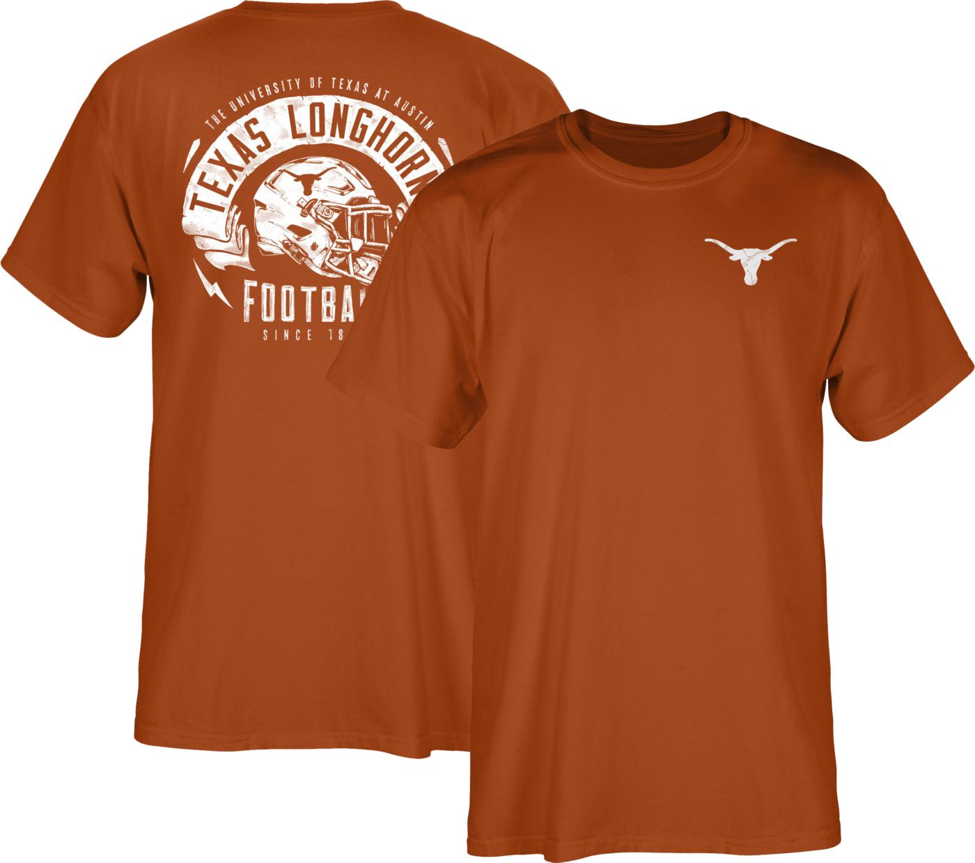 University of Texas Authentic Apparel Men's Texas Longhorns Burnt Orange Bundy Helmet T-Shirt