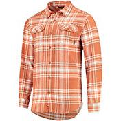 Columbia Men's Texas Longhorns Burnt Orange Plaid Flare Gun Flannel Long Sleeve Button Down Shirt