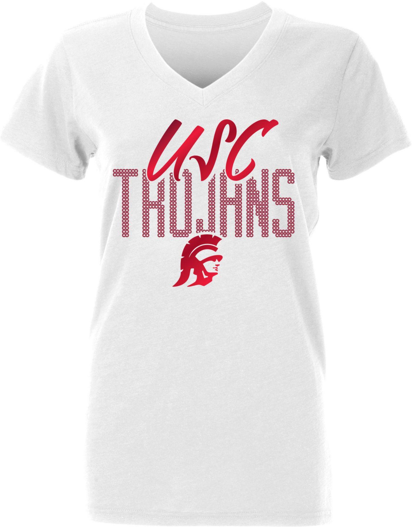 USC Authentic Apparel Women's USC Trojans Aelin V-Neck White T-Shirt