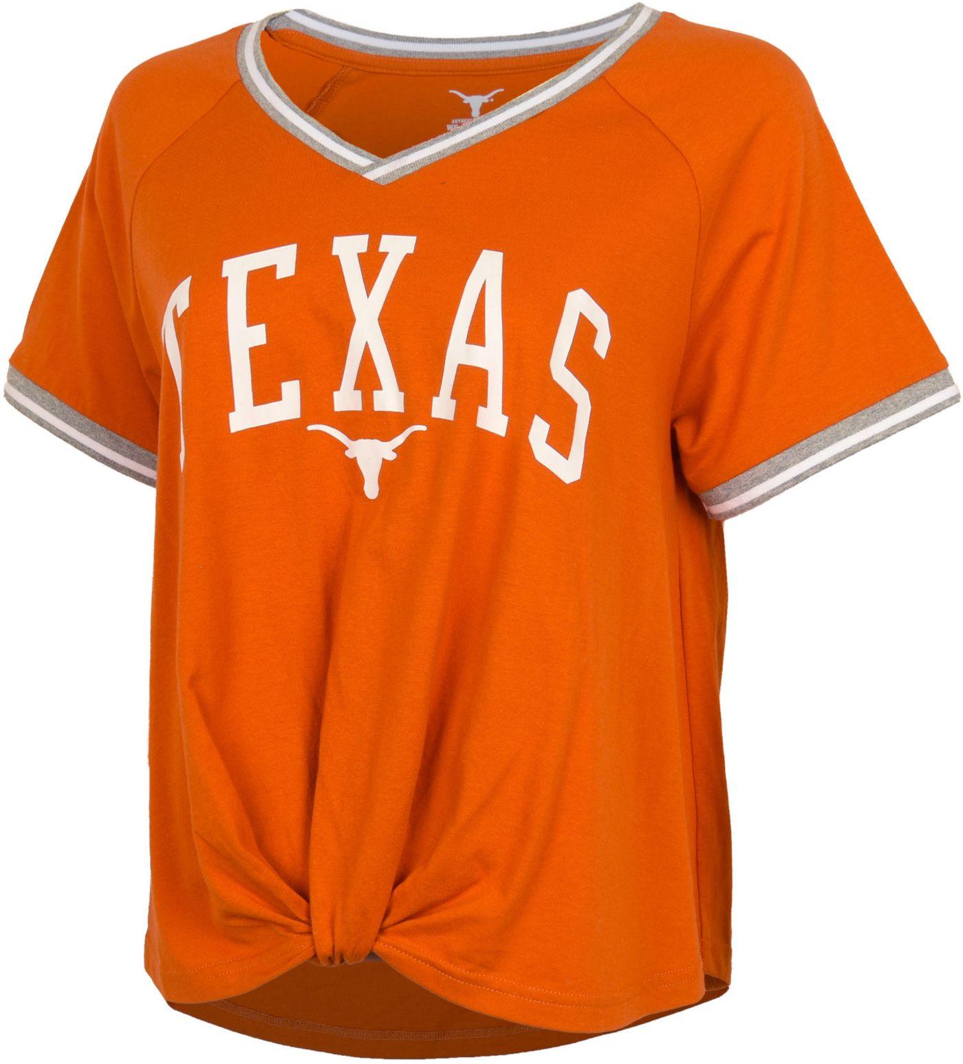 University of Texas Authentic Apparel Women's Texas Longhorns Burnt Orange Channing V-Neck T-Shirt