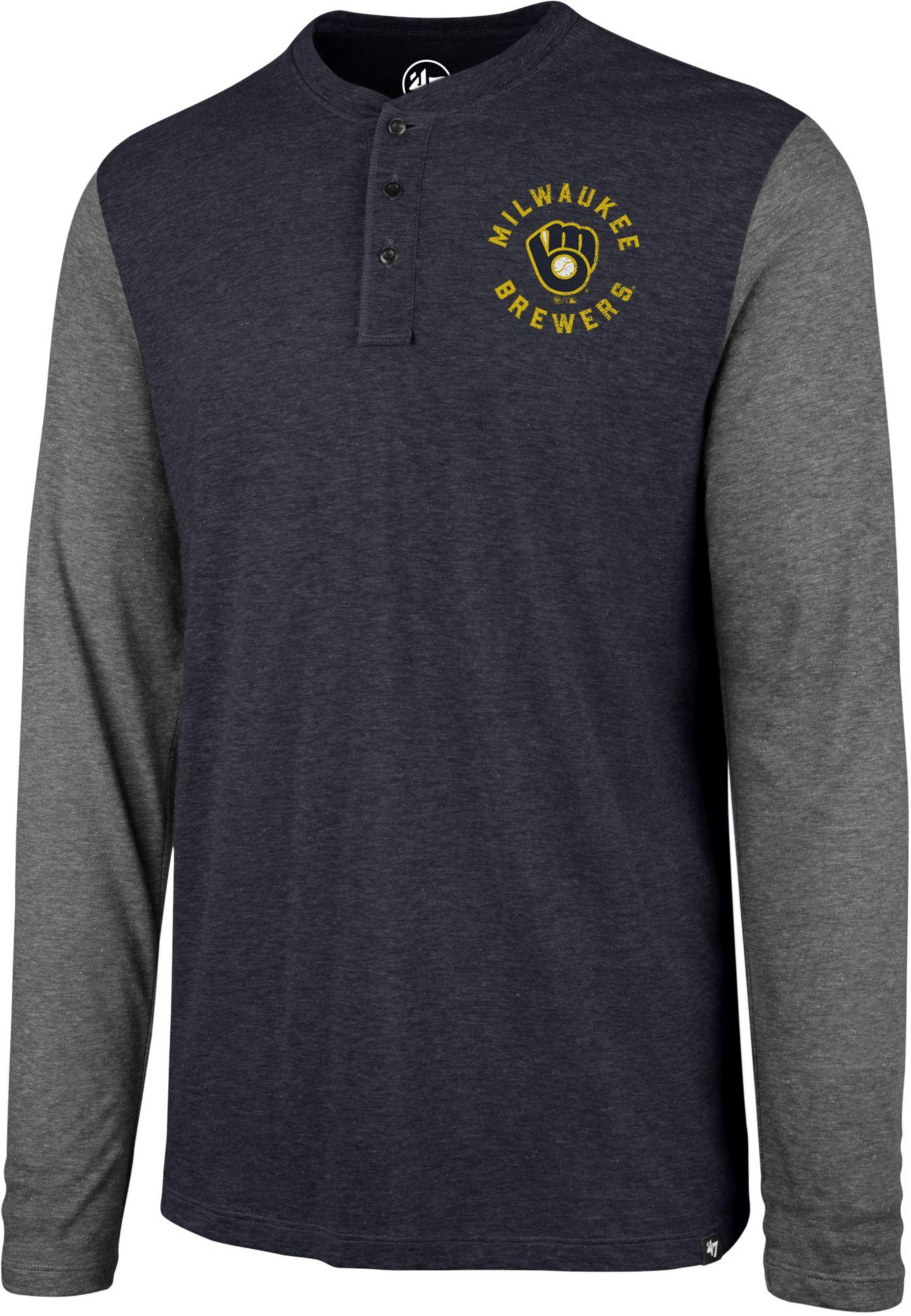 '47 Men's Milwaukee Brewers Henley Long Sleeve Shirt
