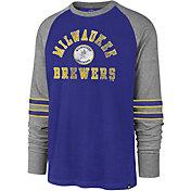'47 Men's Milwaukee Brewers Royal Wind-up Raglan Long Sleeve Shirt