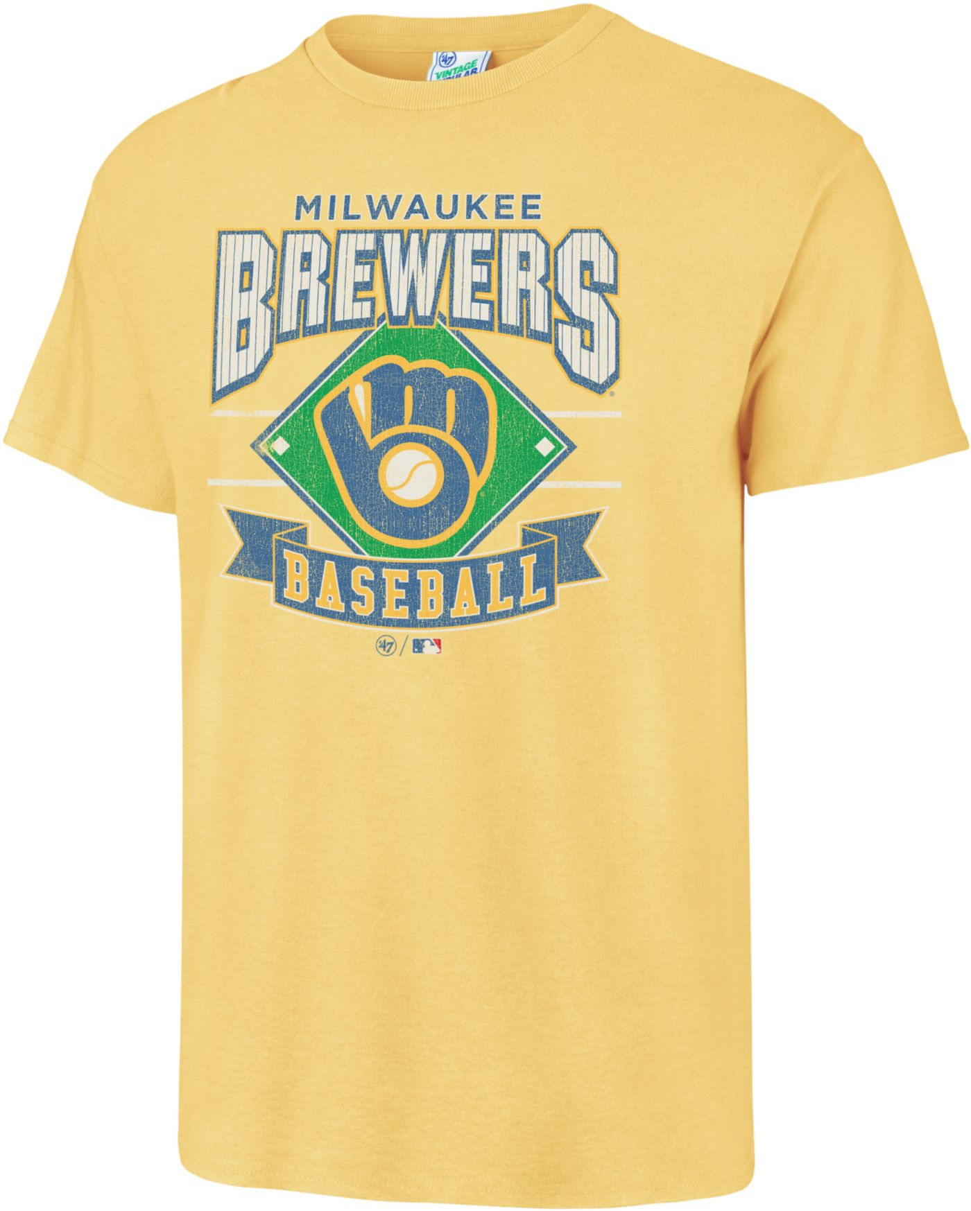 '47 Men's Milwaukee Brewers Vintage Yellow T-Shirt