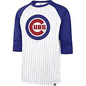 '47 Men's Chicago Cubs White Pinstripe Raglan Three-Quarter Sleeve T-Shirt