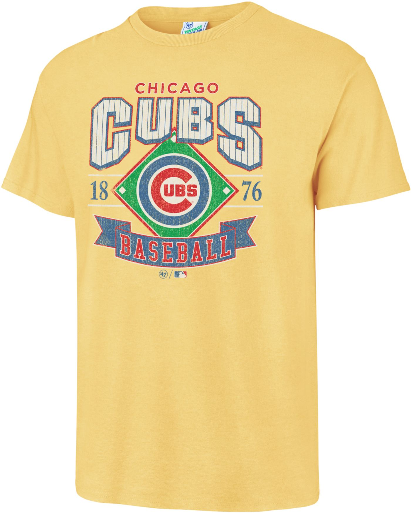 '47 Men's Chicago Cubs Vintage Yellow T-Shirt