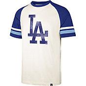 '47 Men's Los Angeles Dodgers Cream Cooperstown Tri-Blend Raglan T-Shirt