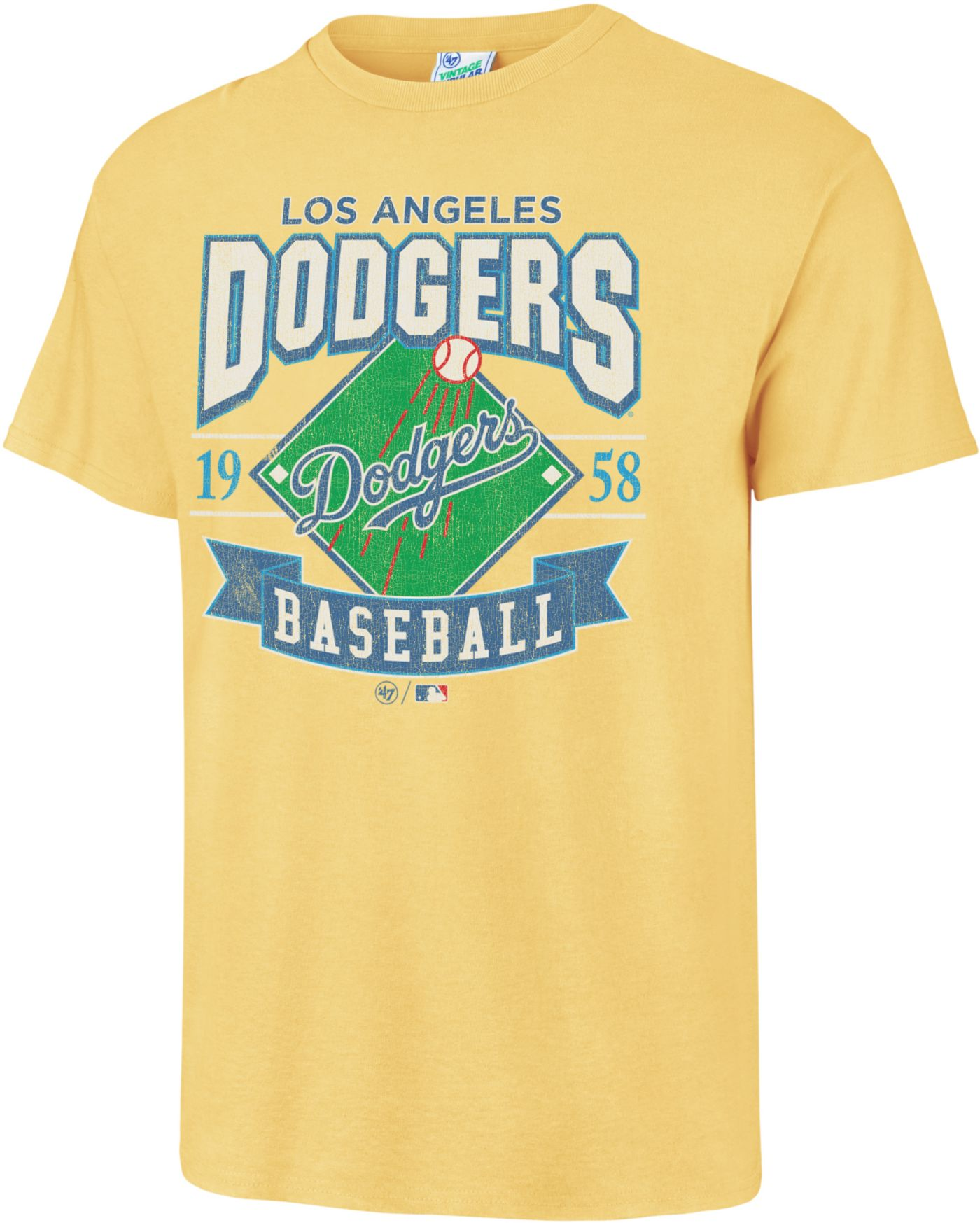 '47 Men's Los Angeles Dodgers Vintage Yellow T-Shirt