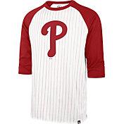 '47 Men's Philadelphia Phillies White Pinstripe Raglan Three-Quarter Sleeve T-Shirt