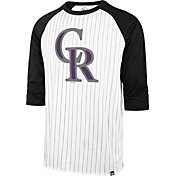 '47 Men's Colorado Rockies White Pinstripe Raglan Three-Quarter Sleeve T-Shirt