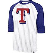 '47 Men's Texas Rangers White Pinstripe Raglan Three-Quarter Sleeve T-Shirt