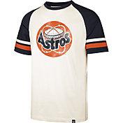 '47 Men's Houston Astros Cream Cooperstown Tri-Blend Raglan T-Shirt
