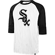 '47 Men's Chicago White Sox White Pinstripe Raglan Three-Quarter Sleeve T-Shirt