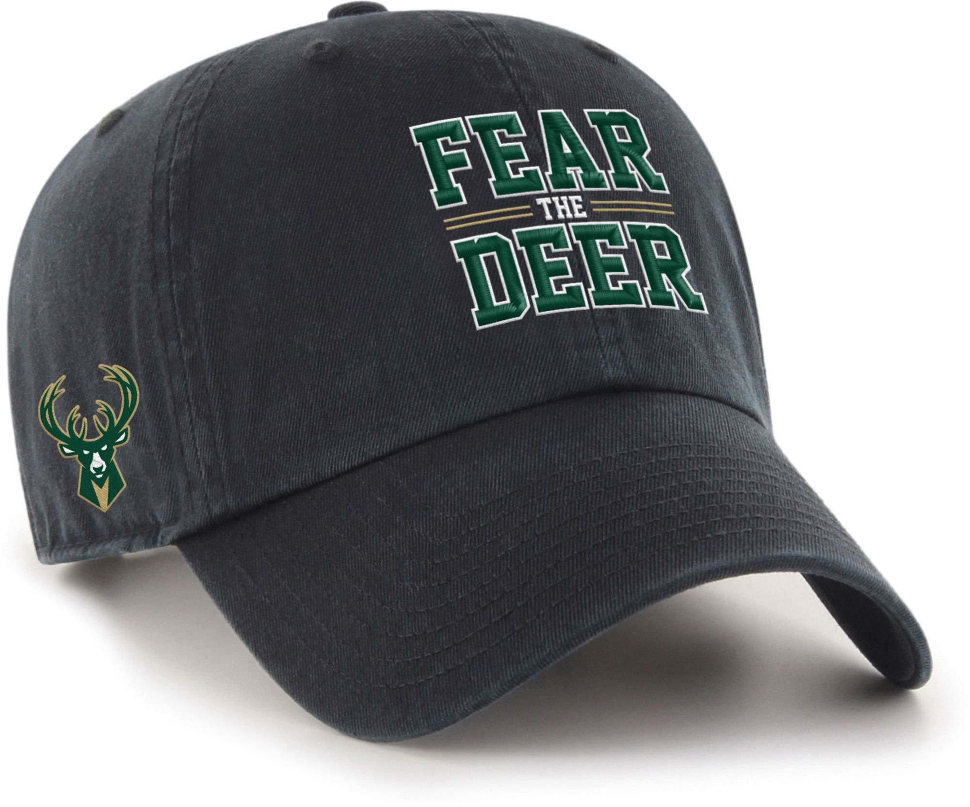 "'47 Men's Milwaukee Bucks ""Fear The Deer"" Clean Up Adjustable Hat, Black thumbnail"