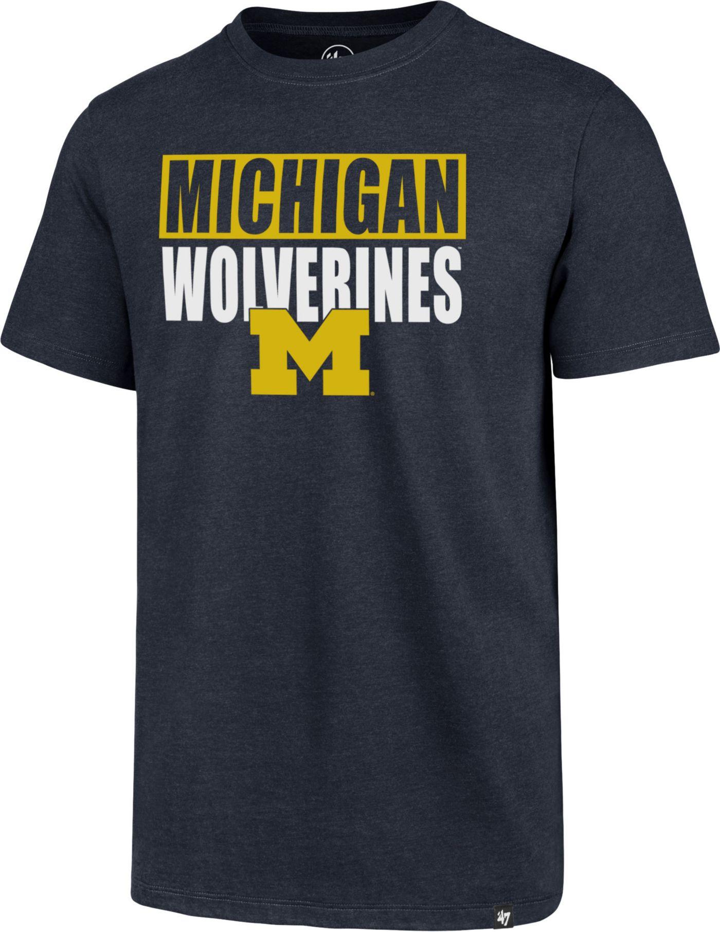 '47 Men's Michigan Wolverines Blue Blockout Club T-Shirt