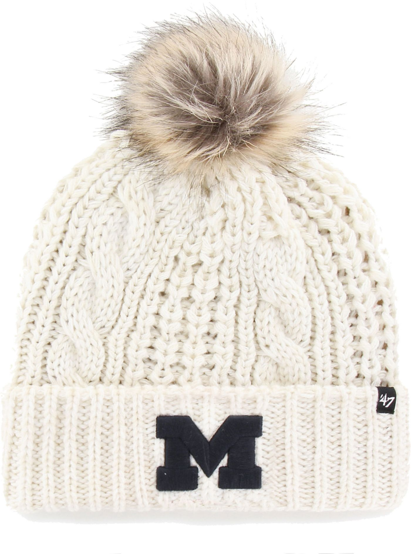 '47 Women's Michigan Wolverines Meeko Cuffed Knit White Hat