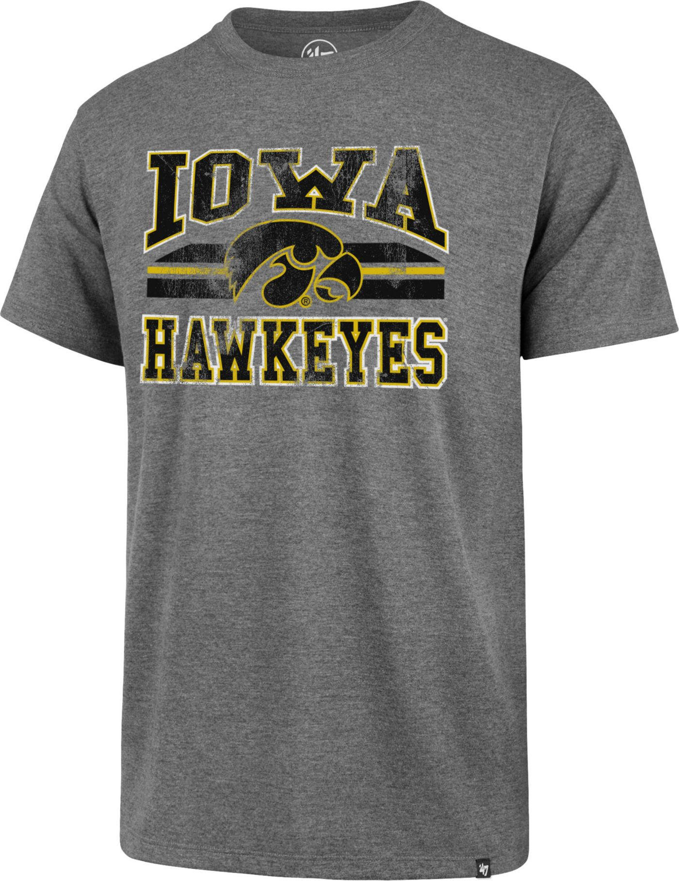 '47 Men's Iowa Hawkeyes Grey Major Stripe Club T-Shirt