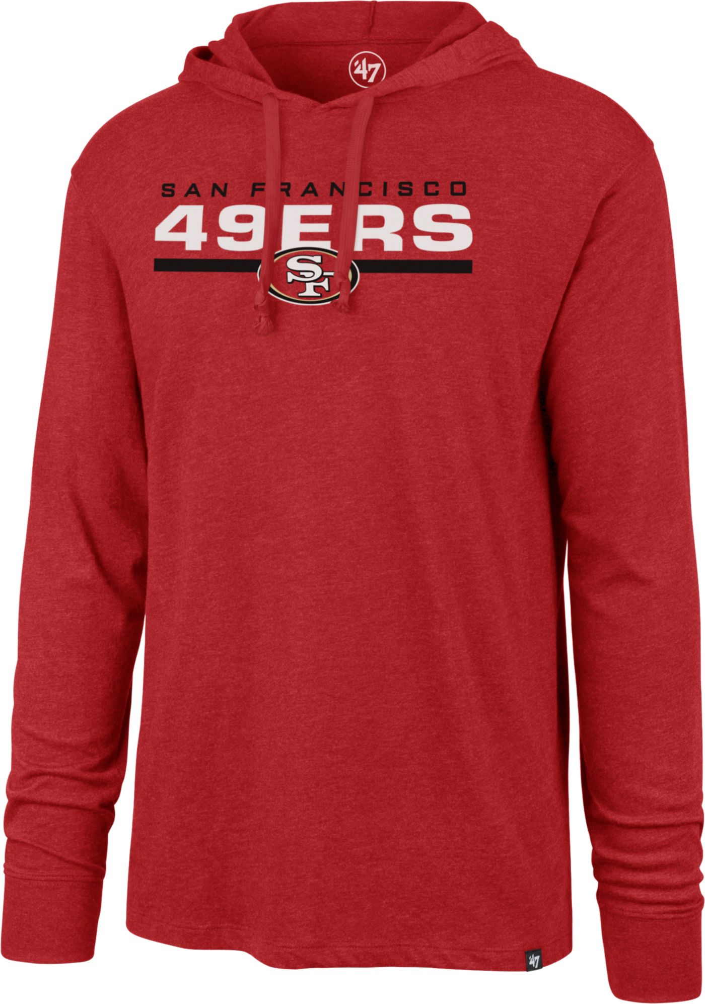 '47 Men's San Francisco 49ers Club Red Hooded Long Sleeve Shirt